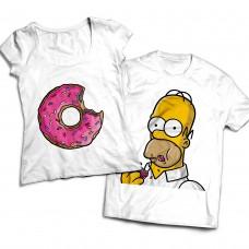 Комплект парных футболок Гомер и пончик