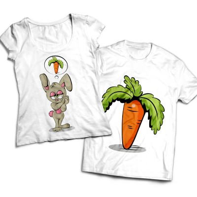 Комплект парных футболок Зайка и морковка