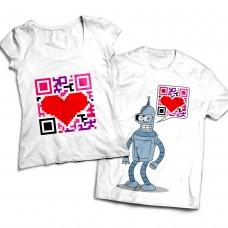 Комплект парных футболок QR-код